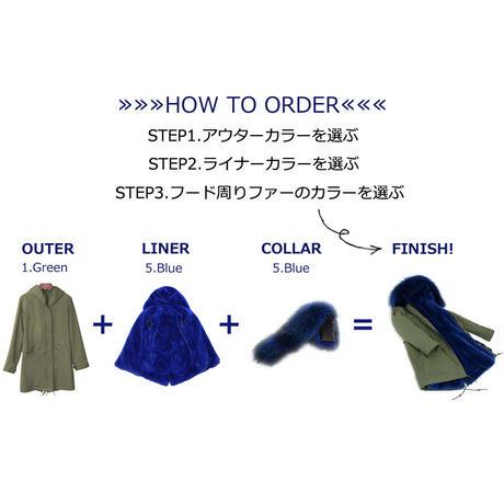 *カラーを組み合わせてセミオーダー*Colored Furモッズコート《リアルファー&フェイクファー/Long》