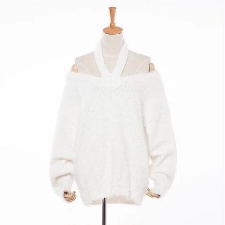 Fluffy Halter Neckセーター《WHITE/BLACK》