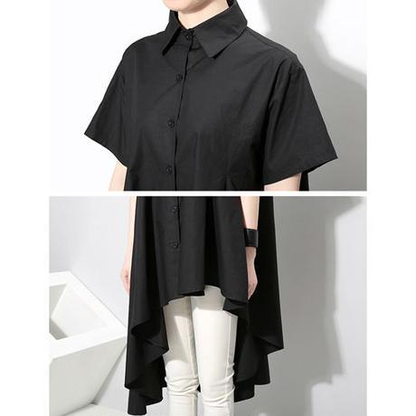 Asymmetric Hem半袖シャツ