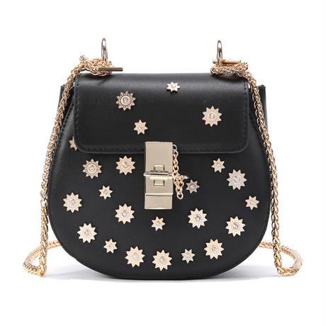 Flower Rivetチェーンバッグ《Black》