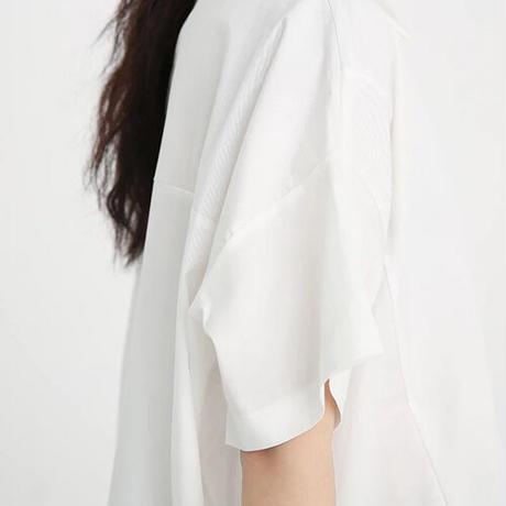 Asymmetricショートスリーブシャツ《BLACK/WHITE》
