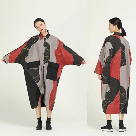 Abstract Printed シャツ ワンピース