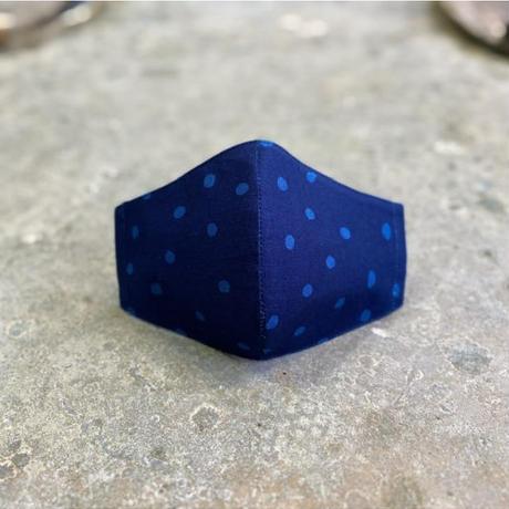 藍染手ぬぐいマスク - Tenuma - 帯水玉 2色