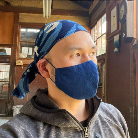 藍染手ぬぐいマスク - Tenuma - 中間色