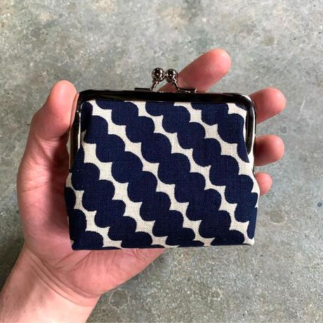 Indigo Gamaguchi (coin purse) -Rows of Beads-