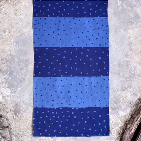 Indigo Dyed Tenugui Mask - Tenuma - Two Shades of Polka Dots