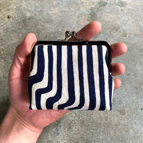 Indigo Gamaguchi (coin purse) -Modern Stripes-