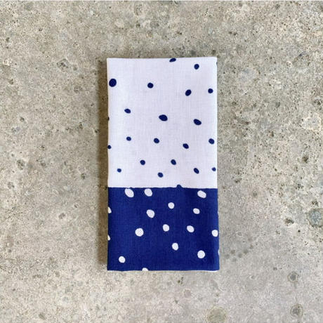 Polka Dots Sash Tenugui (hand towel) -Dark Blue-