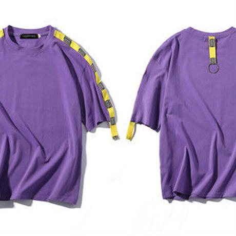 [大人気]ベルト付きデザインTシャツ 3カラー