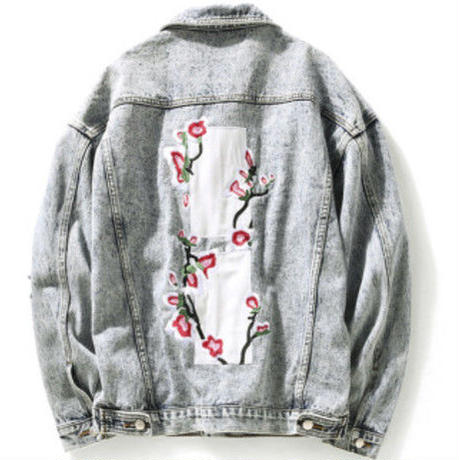 [COOL]フラワー刺繍デザインデニムジャケット
