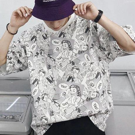 [売り切れ間近]アメコミ風デザインオーバーTシャツ 2カラー