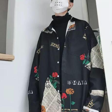 【11/11予約限定】ローズWORDロングシャツ 2カラー