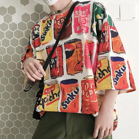 [HOT]ドリンクデザインビックサイズTシャツ