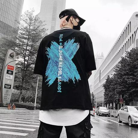 ブルーXプリントTシャツ【S00045】