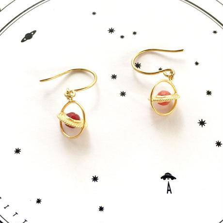 Saturn hook pierce / Red coral