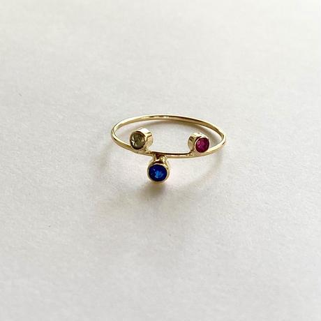 Spacecraft Ring  / Ruby, blue sapphire, Diamond