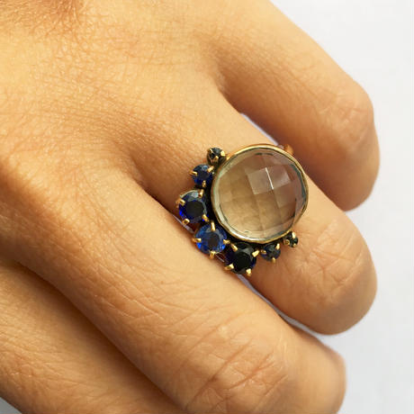 Crescent and full moon Ring