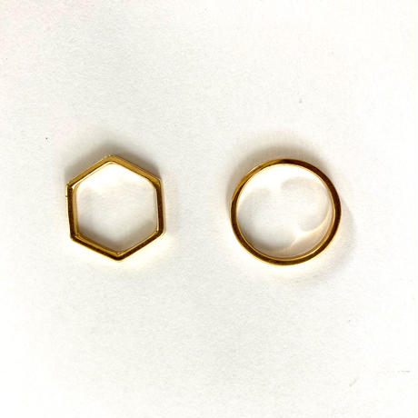 Stacking gold Ring / Round & Hexagon