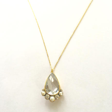 Tear moon necklace / Crystal , Pearl, whitezircon