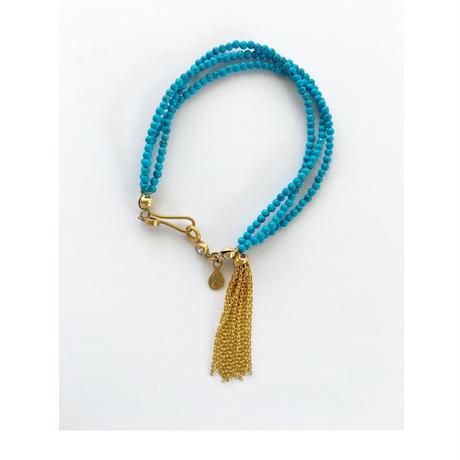 3line stone beads Bracelate / Blue Howlite