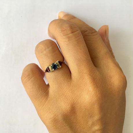 Blue Hexagon Ring