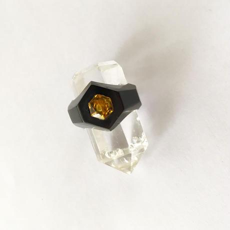 Black Baffalo horn ring / Hexagon citrine