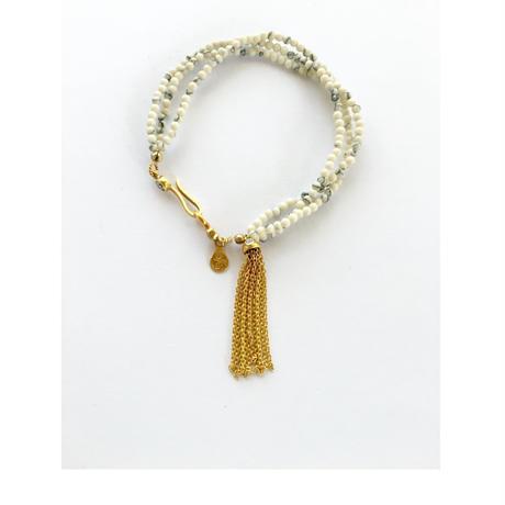 3line stone beads bracelate/Howlite white