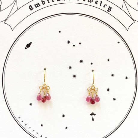 3tear drops  Ruby /18ct gold pierce