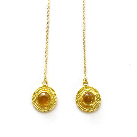 Sun moon pierce/ Yellow Tourmaline