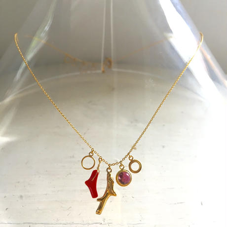 Red coral gold necklace