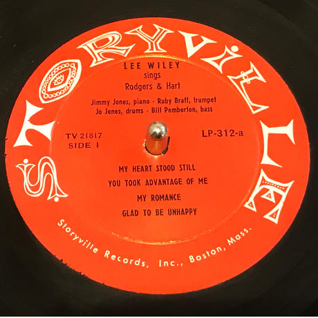 Lee Wiley/Sings Rodgers and Hart(Storyville LP312)MONO 10インチ オリジナル盤