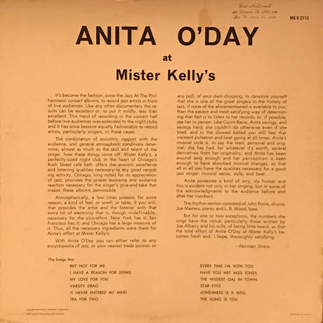 Anita O'Day/At Mister Kelly's(Verve MGV2113) MONO オリジナル盤