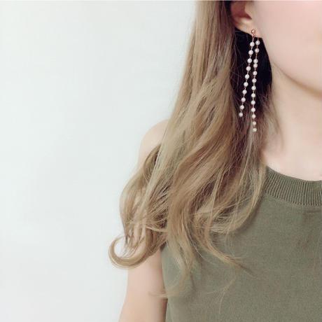 pink gold pearl pierce & earring