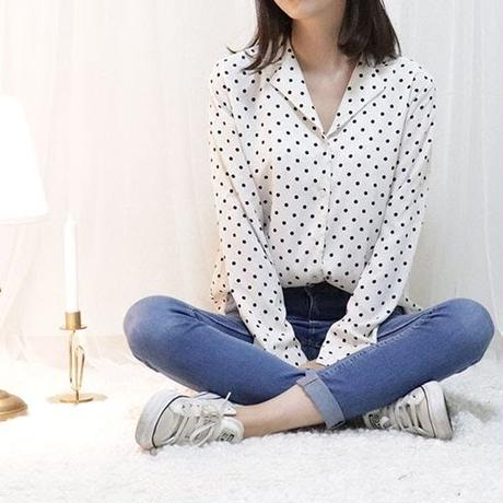 dot chiffon blouse(white/red)