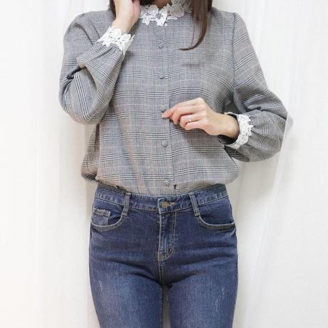 glen check blouse