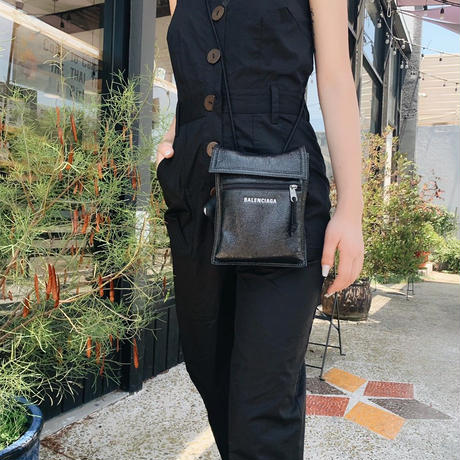 military front button overall BLACK