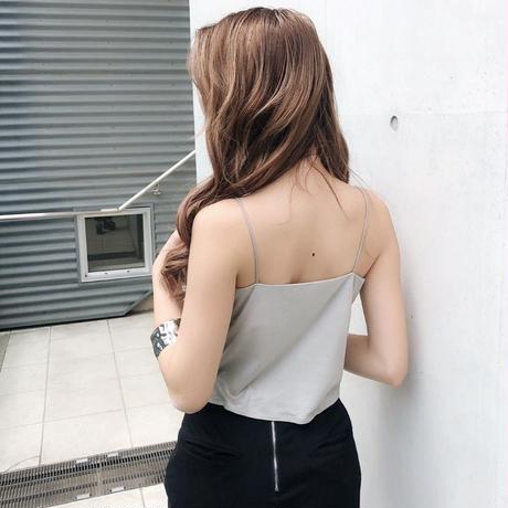 F/SUEDE CAMI TOPS LIGHT GRAY