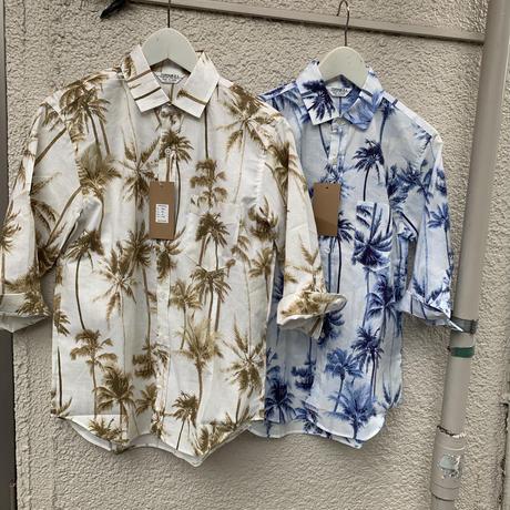 ヤシ柄プリント七部袖シャツ