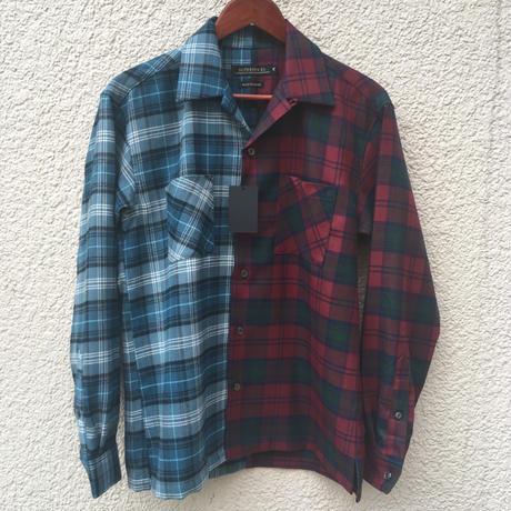 切り替え開襟ネルシャツ