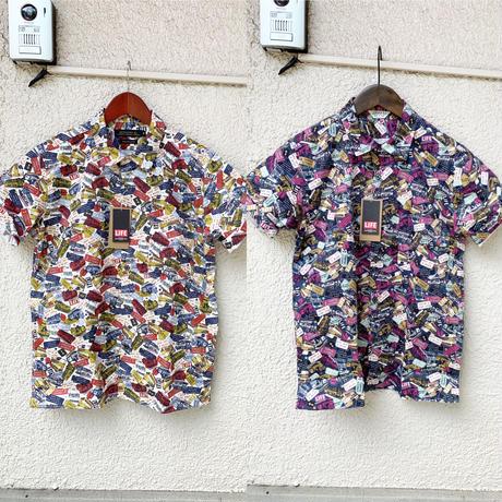 LIFEバス総柄の開襟半袖シャツ