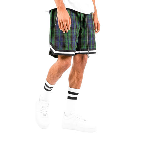 mnml  PLAID BASKETBALL SHORTS / GREEN-BLACK