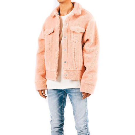 mnml / SHERPA DENIM TRUCKER / SALMON PINK