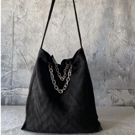 french linen herringbone 2way bag (black)