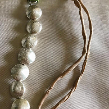 copper beads necklace (silver coin)