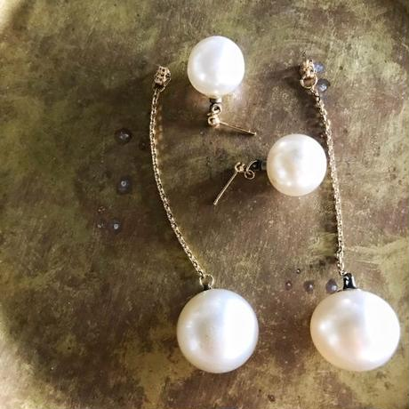 vintage glass pierce (pearl)