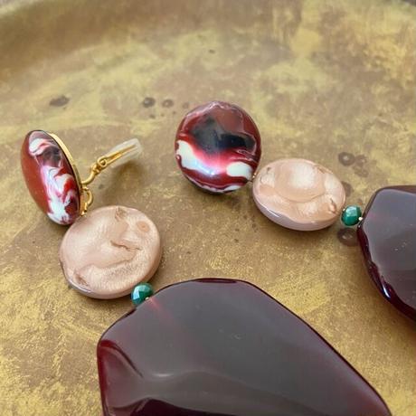 talian beads earrings (bordeaux)