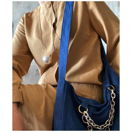 french linen herringbone 2way bag (ink blue)