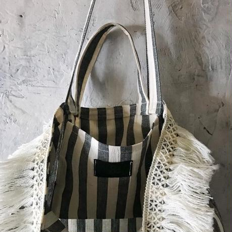 cotton linen stripe bag (black)