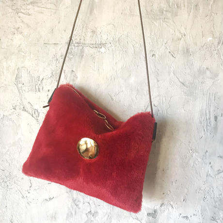fur shoulder  bag (red)