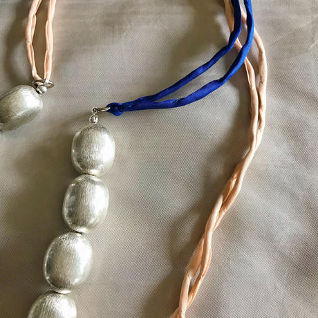 copper beads necklace (silver oval)